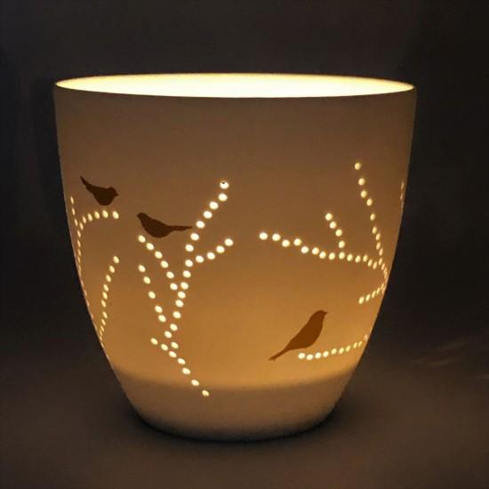 Photophore porcelaine Oiseaux