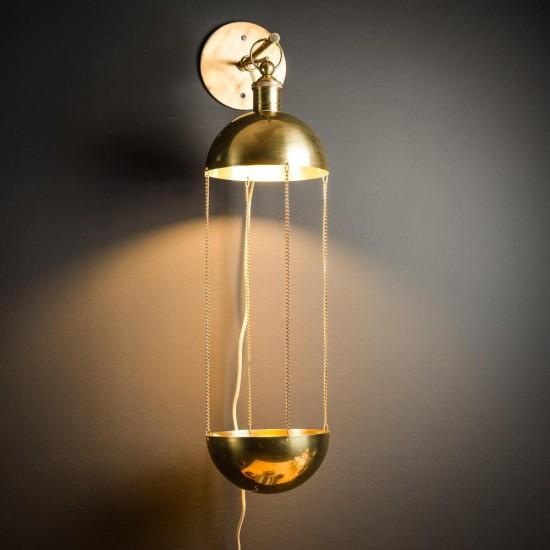 Plant holder brass wall light